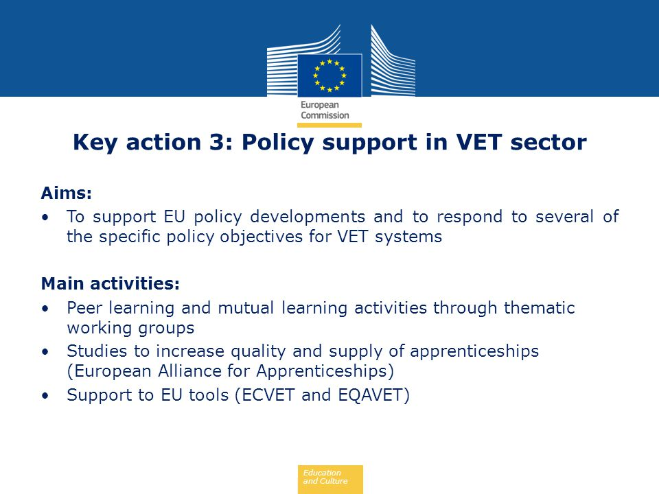 Key action 3: Policy support in VET sector