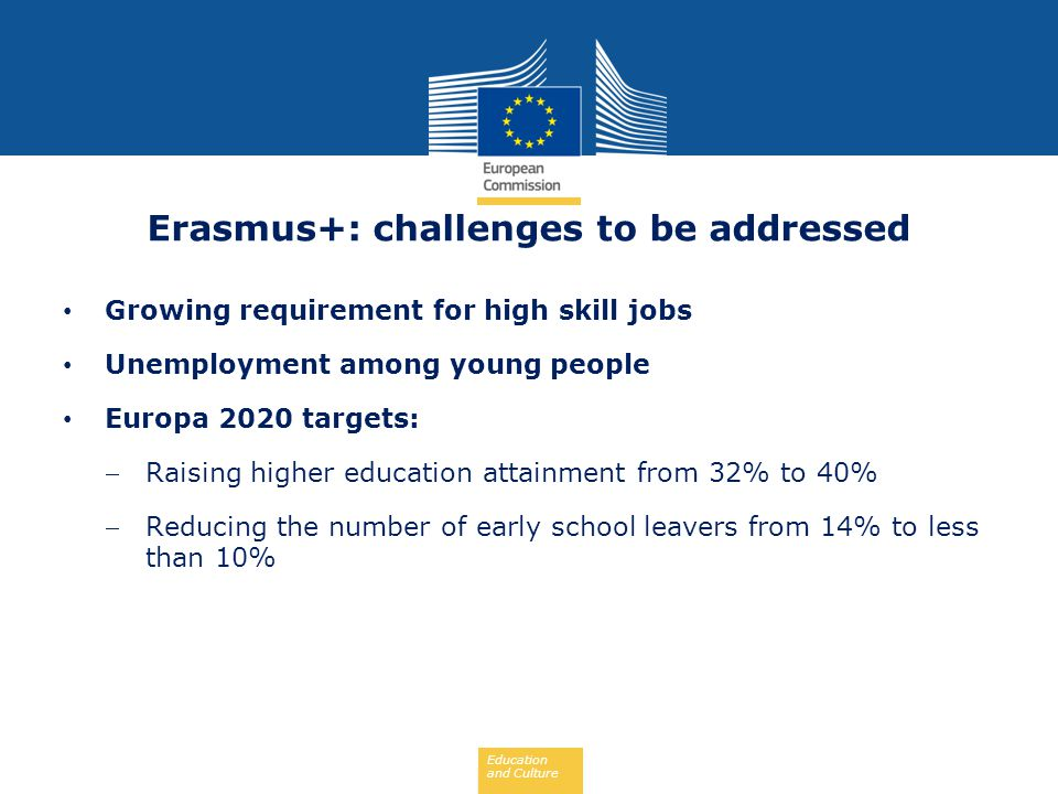 Erasmus+: challenges to be addressed