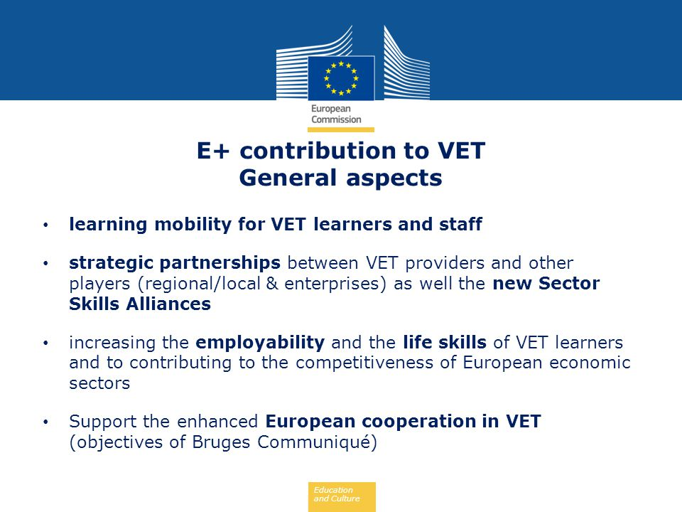 E+ contribution to VET General aspects