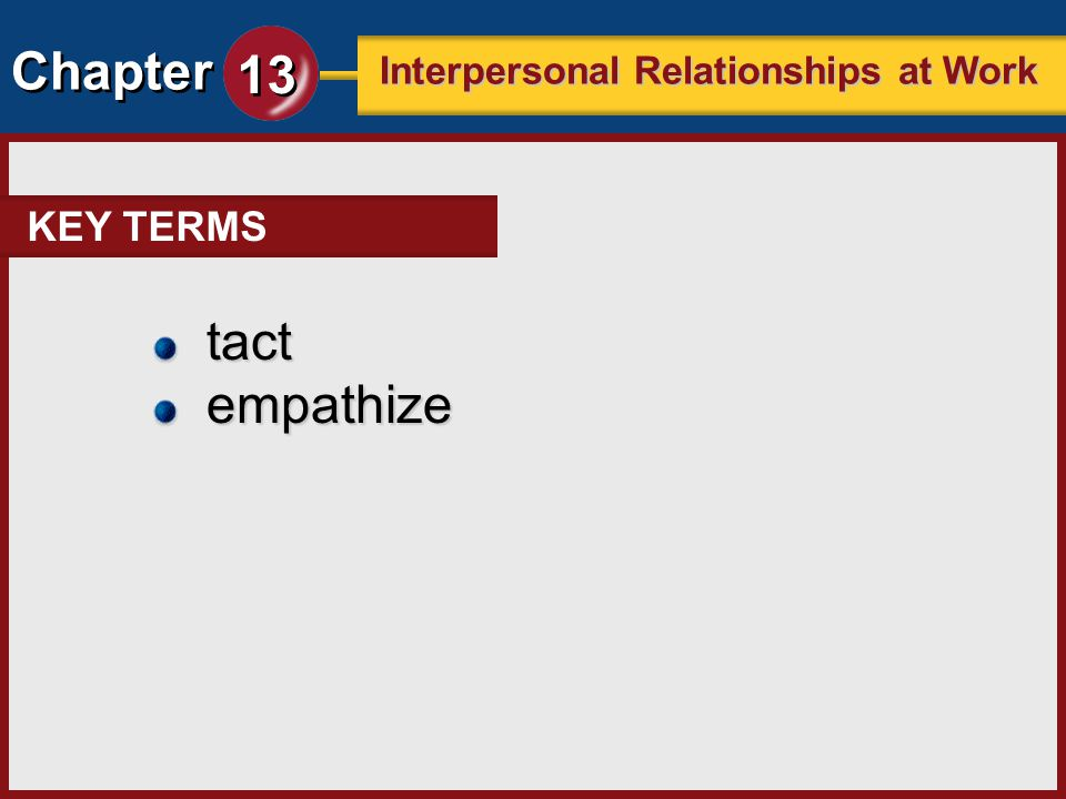 KEY TERMS tact empathize