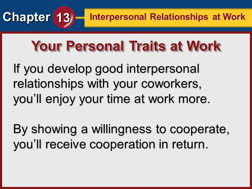 interpersonal relationship at the workplace