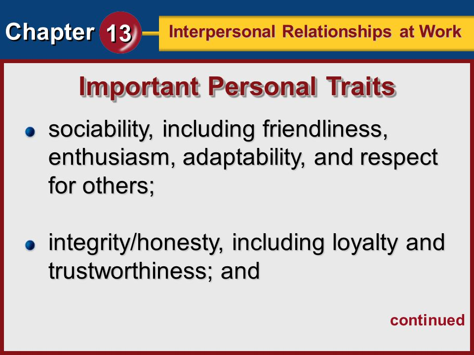 Important Personal Traits
