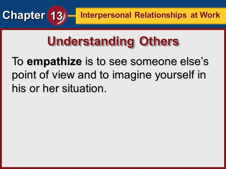Understanding Others To empathize is to see someone else's point of view and to imagine yourself in his or her situation.