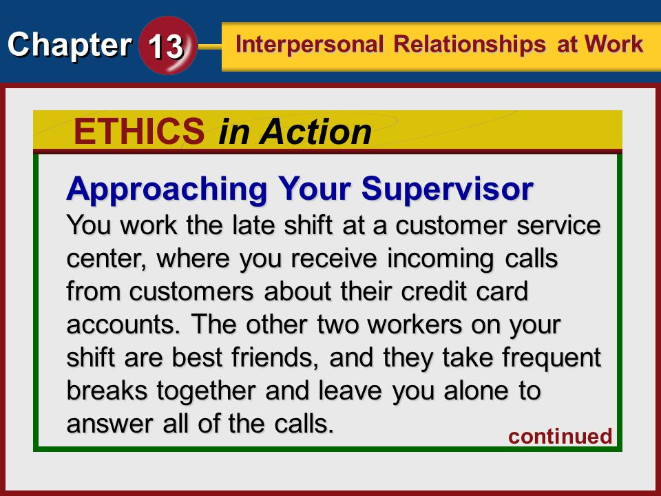 ETHICS in Action Approaching Your Supervisor