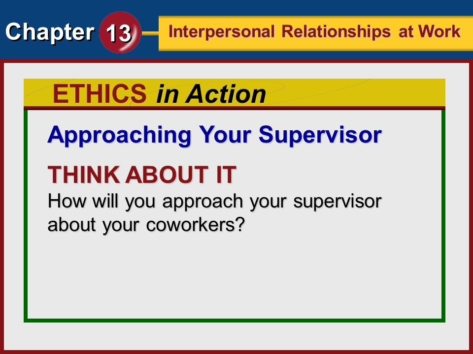 ETHICS in Action Approaching Your Supervisor THINK ABOUT IT
