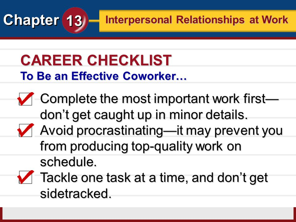 CAREER CHECKLIST To Be an Effective Coworker… Complete the most important work first—don't get caught up in minor details.