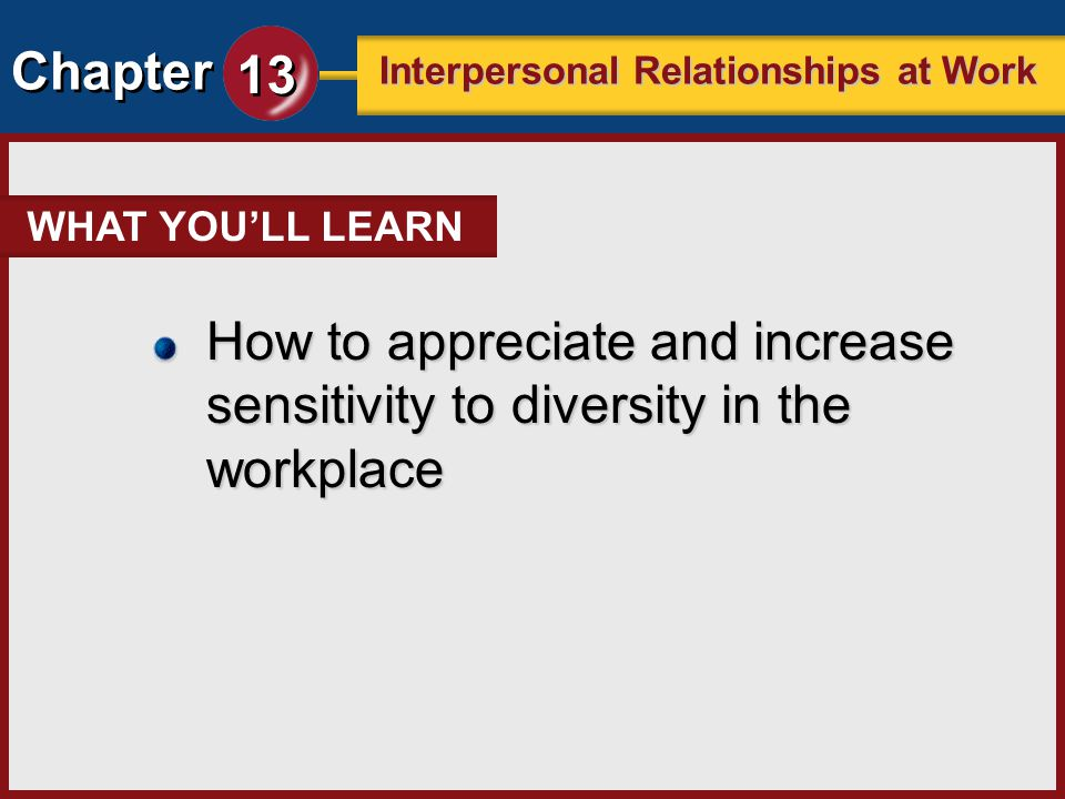 WHAT YOU'LL LEARN How to appreciate and increase sensitivity to diversity in the workplace