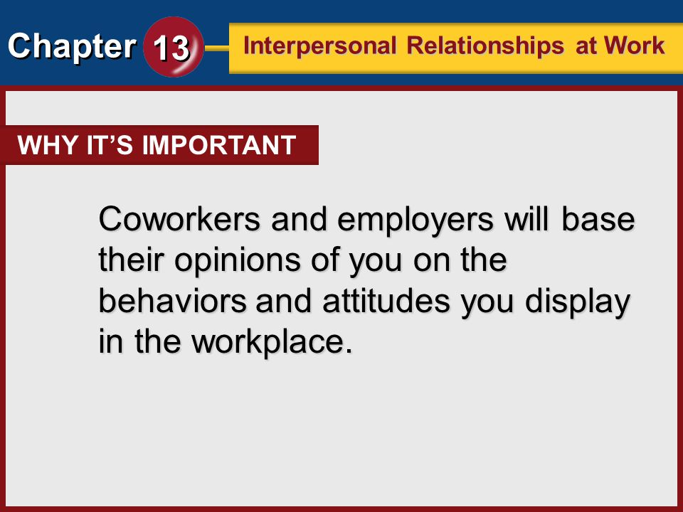 WHY IT'S IMPORTANT Coworkers and employers will base their opinions of you on the behaviors and attitudes you display in the workplace.