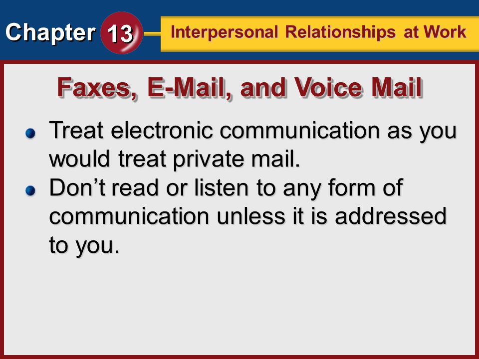 Faxes, E-Mail, and Voice Mail