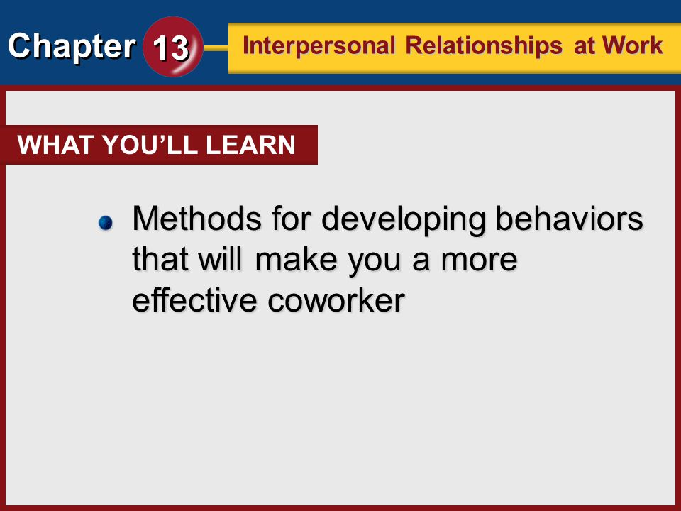WHAT YOU'LL LEARN Methods for developing behaviors that will make you a more effective coworker