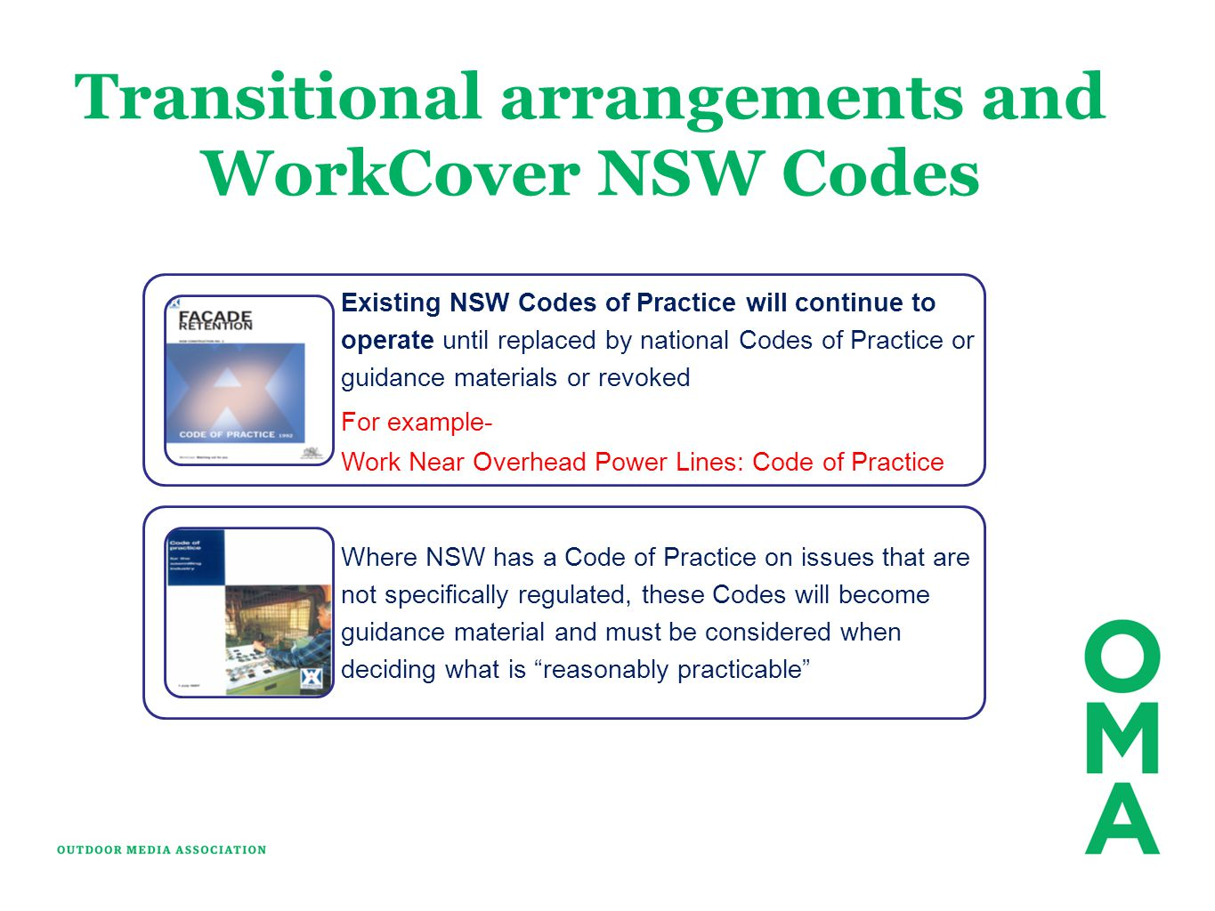 Transitional arrangements and WorkCover NSW Codes