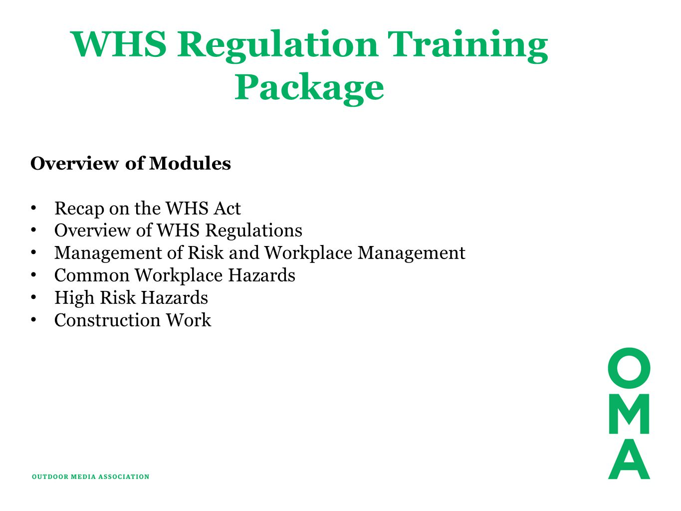 WHS Regulation Training Package