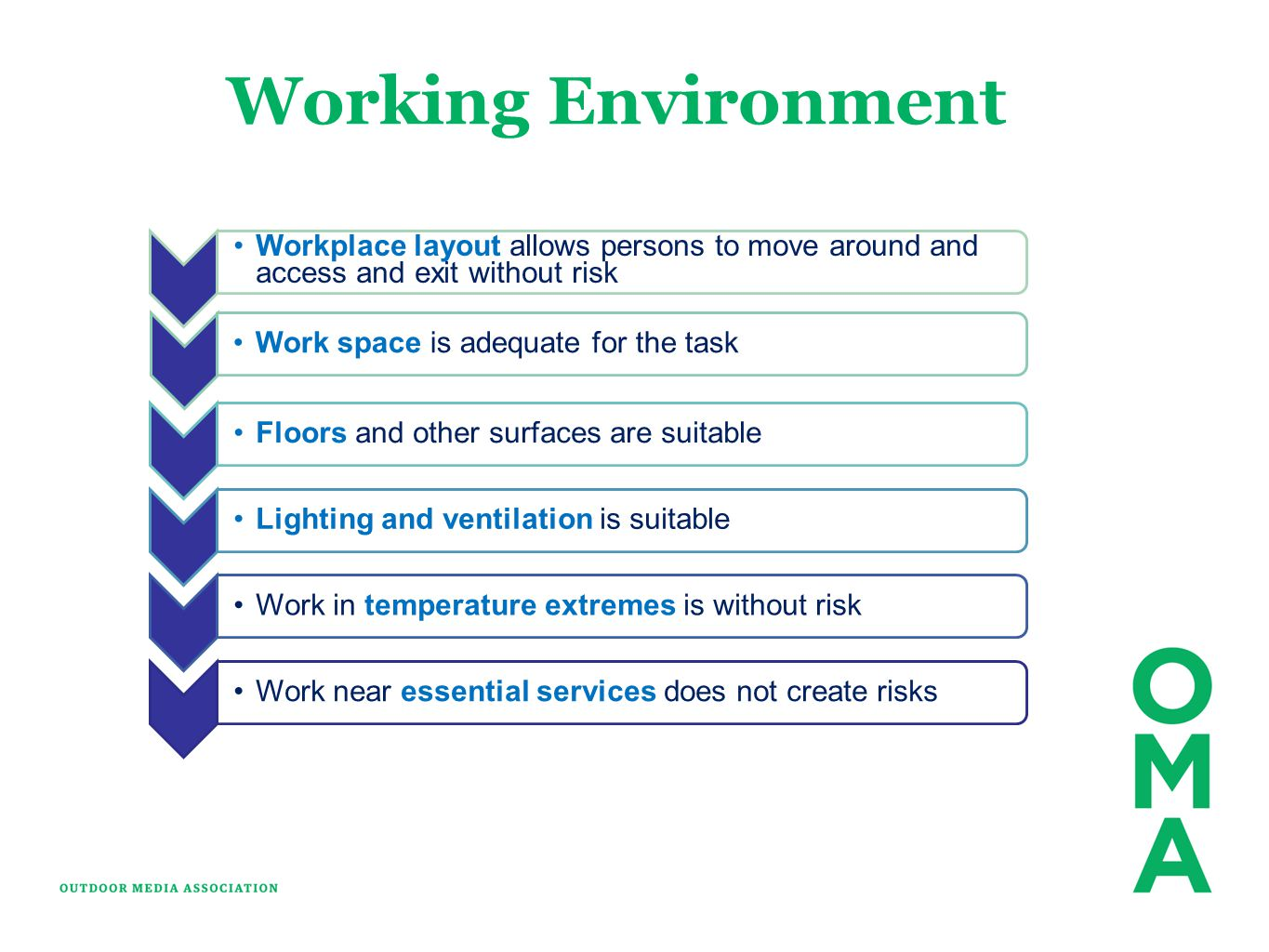 Working Environment Workplace layout allows persons to move around and access and exit without risk.