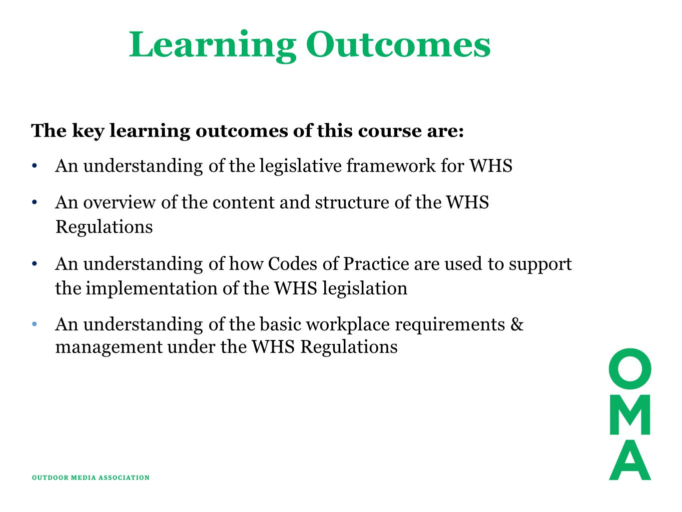 Learning Outcomes The key learning outcomes of this course are: