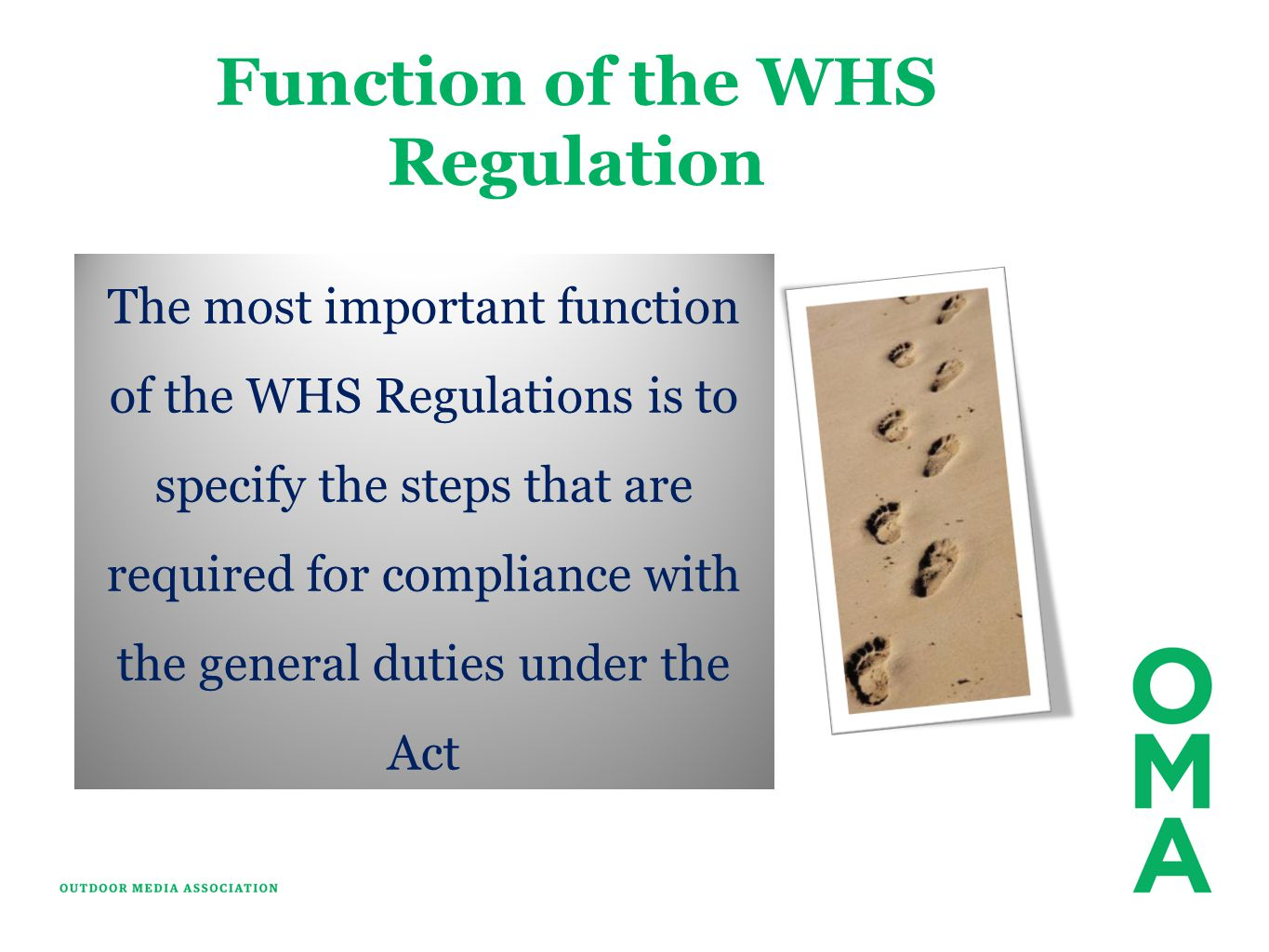 Function of the WHS Regulation
