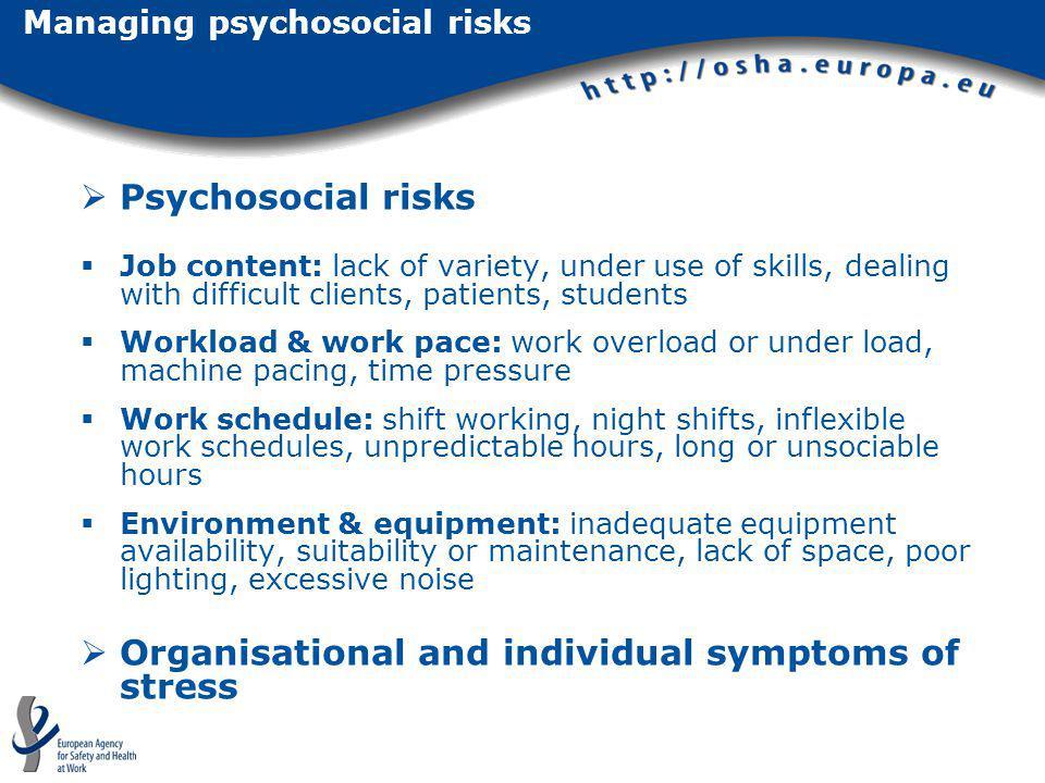 Managing psychosocial risks