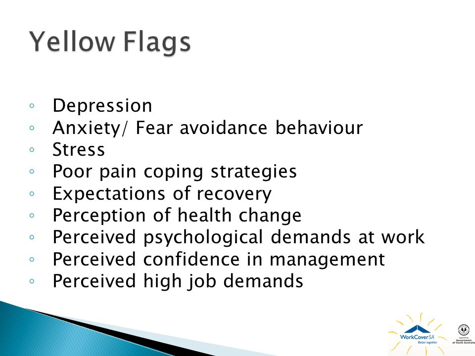 Yellow Flags Depression Anxiety/ Fear avoidance behaviour Stress