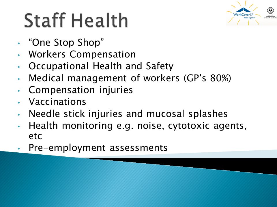 Staff Health One Stop Shop Workers Compensation