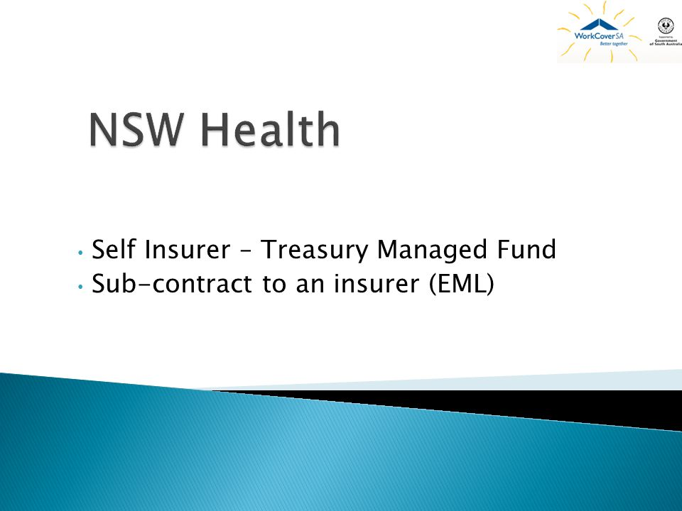 Self Insurer – Treasury Managed Fund Sub-contract to an insurer (EML)