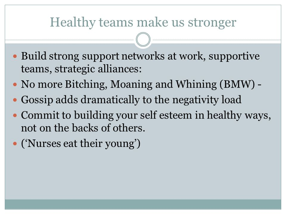 Healthy teams make us stronger