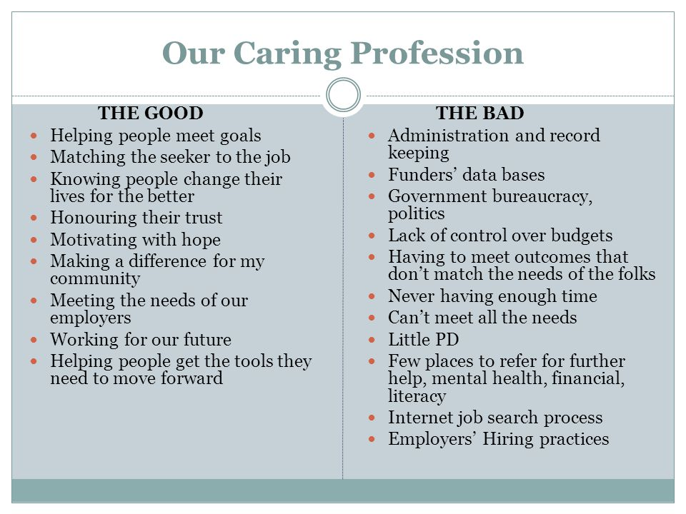 Our Caring Profession THE GOOD Helping people meet goals