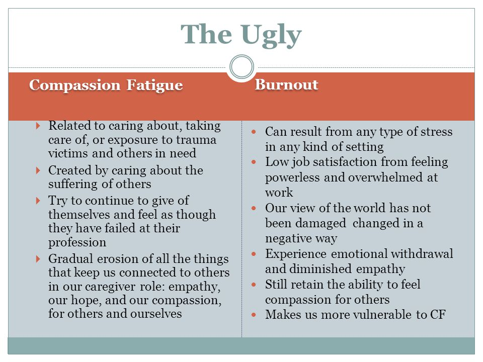 The Ugly Compassion Fatigue Burnout