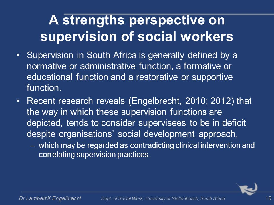 A strengths perspective on supervision of social workers