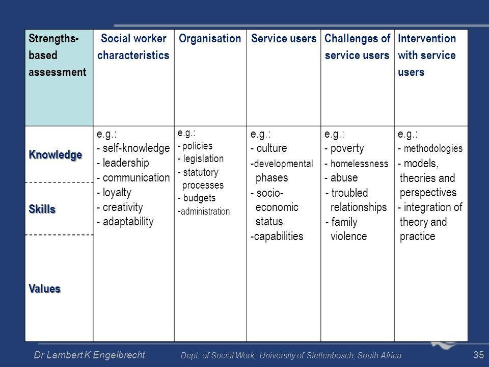Social worker characteristics Challenges of service users