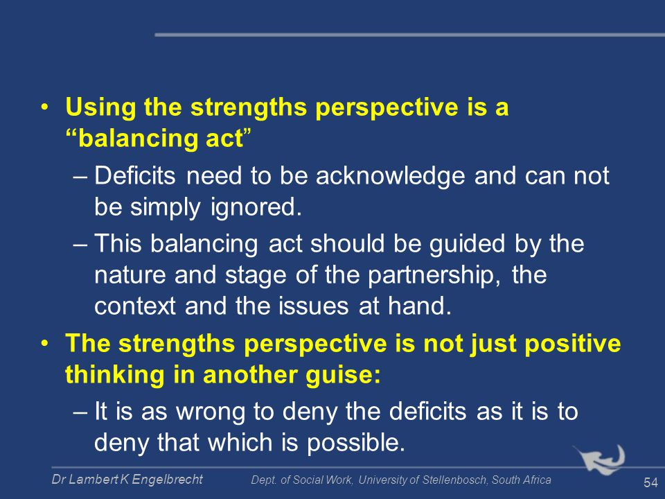 Using the strengths perspective is a balancing act