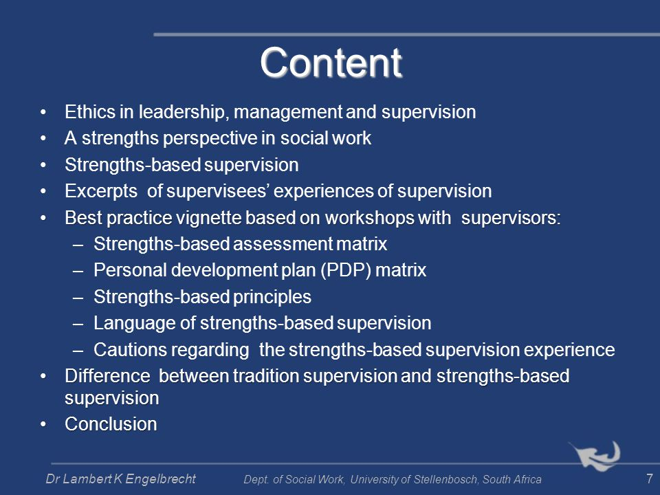 Content Ethics in leadership, management and supervision