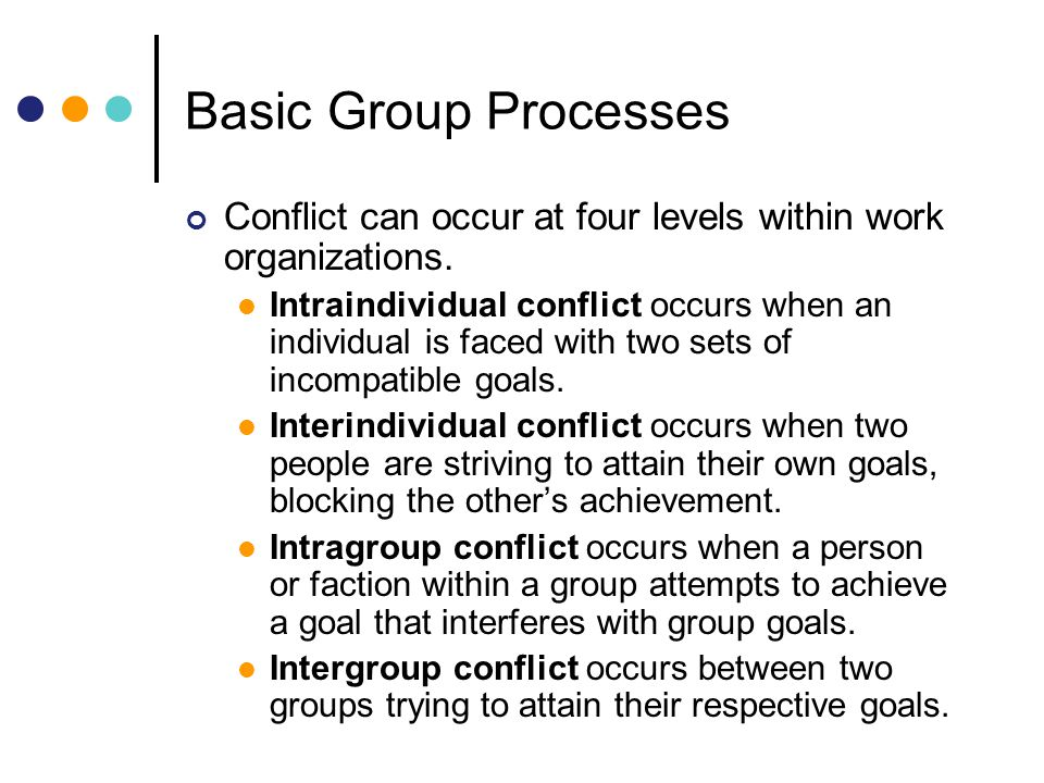 Basic Group Processes Conflict can occur at four levels within work organizations.