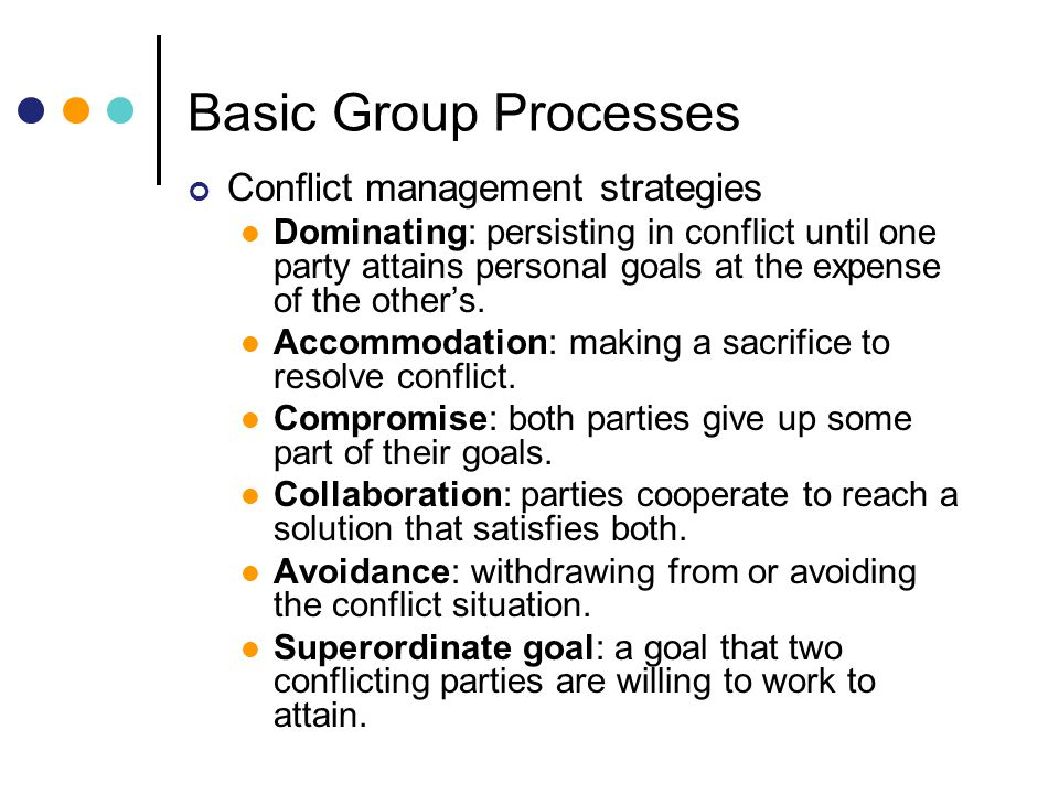 Basic Group Processes Conflict management strategies