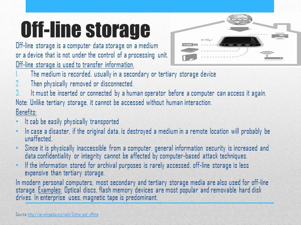 Off-line storage Off-line storage is a computer data storage on a medium. or a device that is not under the control of a processing unit.