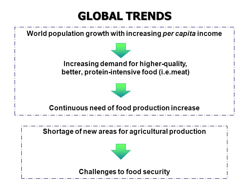 GLOBAL TRENDS World population growth with increasing per capita income. Continuous need of food production increase.