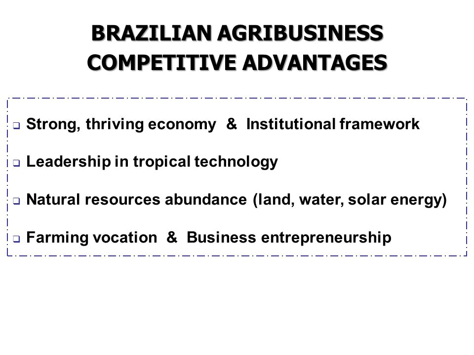 BRAZILIAN AGRIBUSINESS COMPETITIVE ADVANTAGES