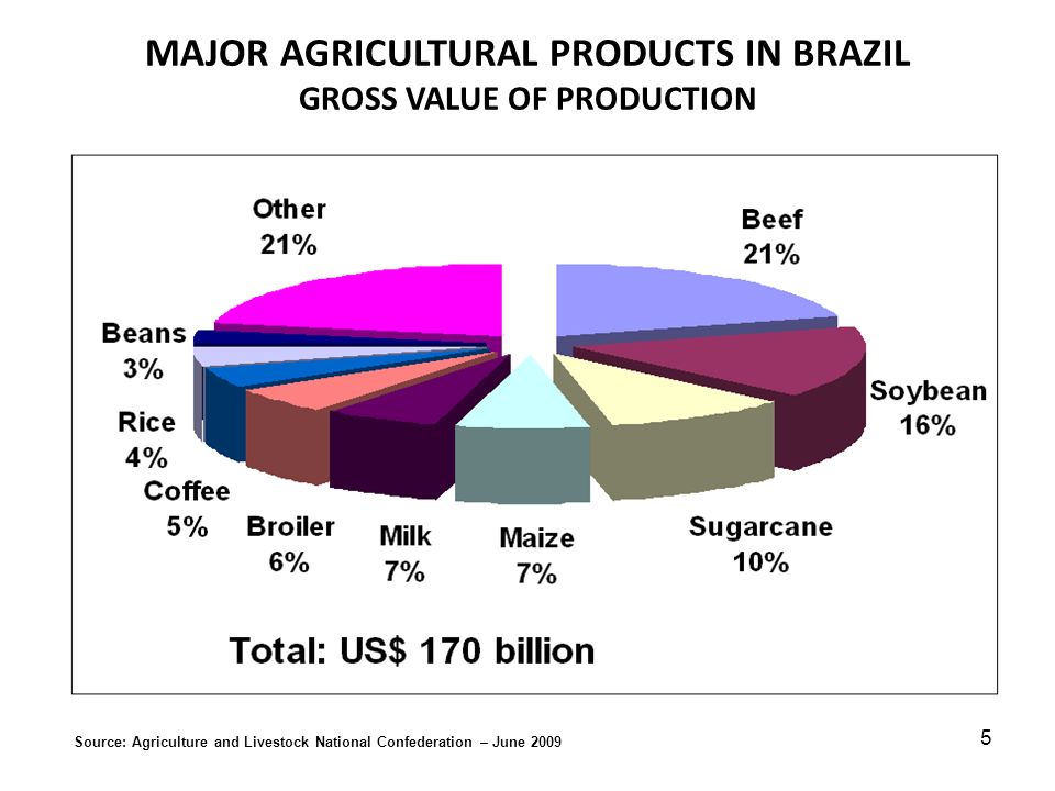 MAJOR AGRICULTURAL PRODUCTS IN BRAZIL GROSS VALUE OF PRODUCTION