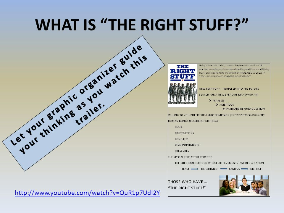 WHAT IS THE RIGHT STUFF