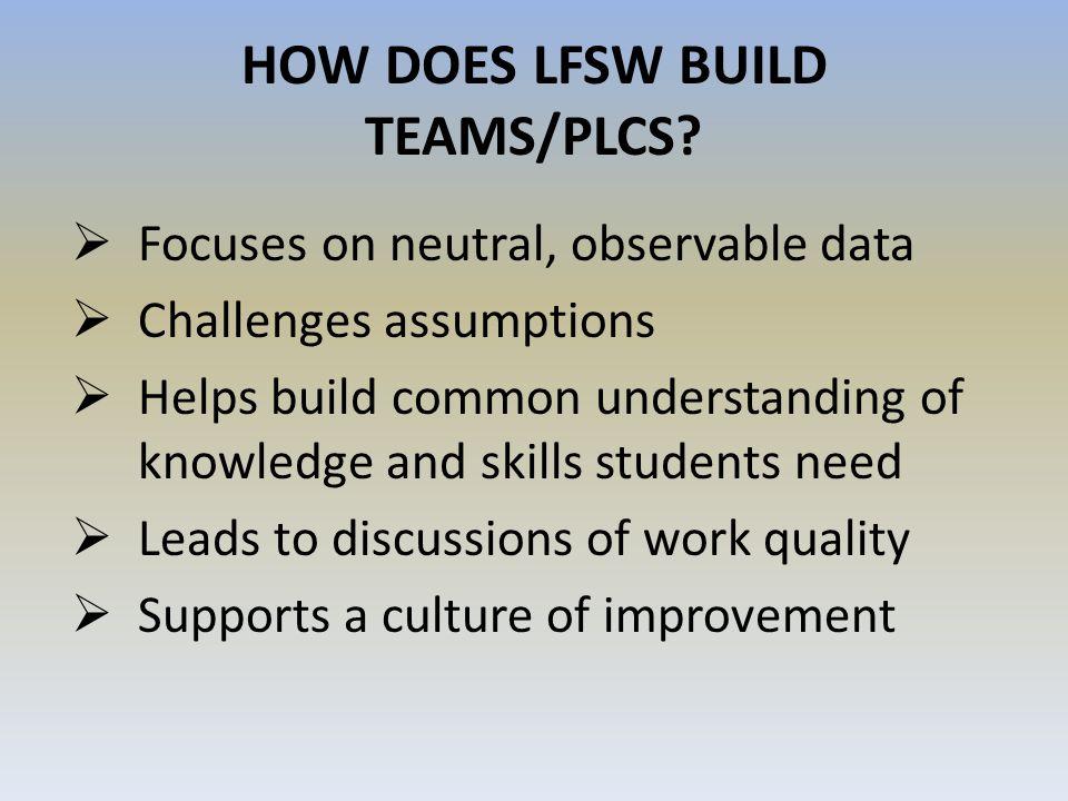 HOW DOES LFSW BUILD TEAMS/PLCS