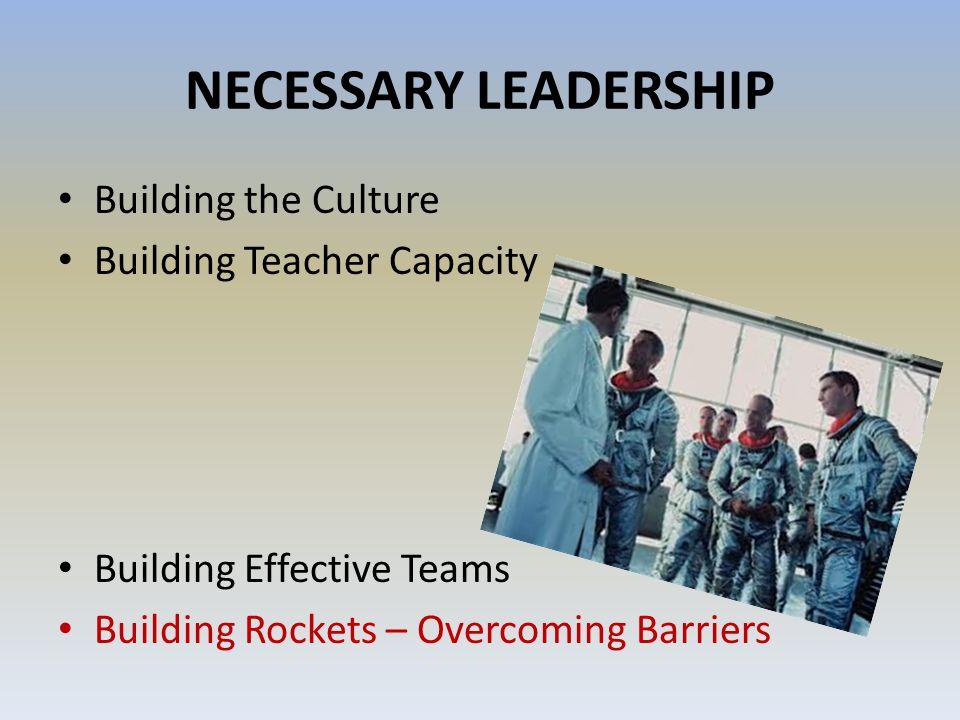 NECESSARY LEADERSHIP Building the Culture Building Teacher Capacity