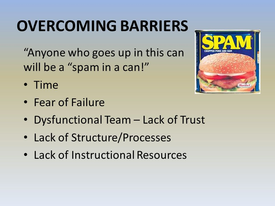 OVERCOMING BARRIERS Anyone who goes up in this can will be a spam in a can!
