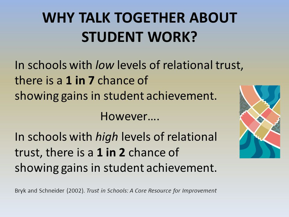 WHY TALK TOGETHER ABOUT STUDENT WORK