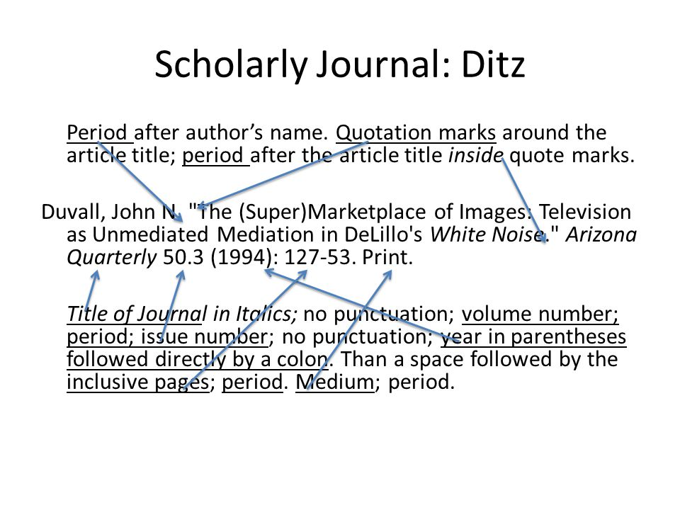 Scholarly Journal: Ditz