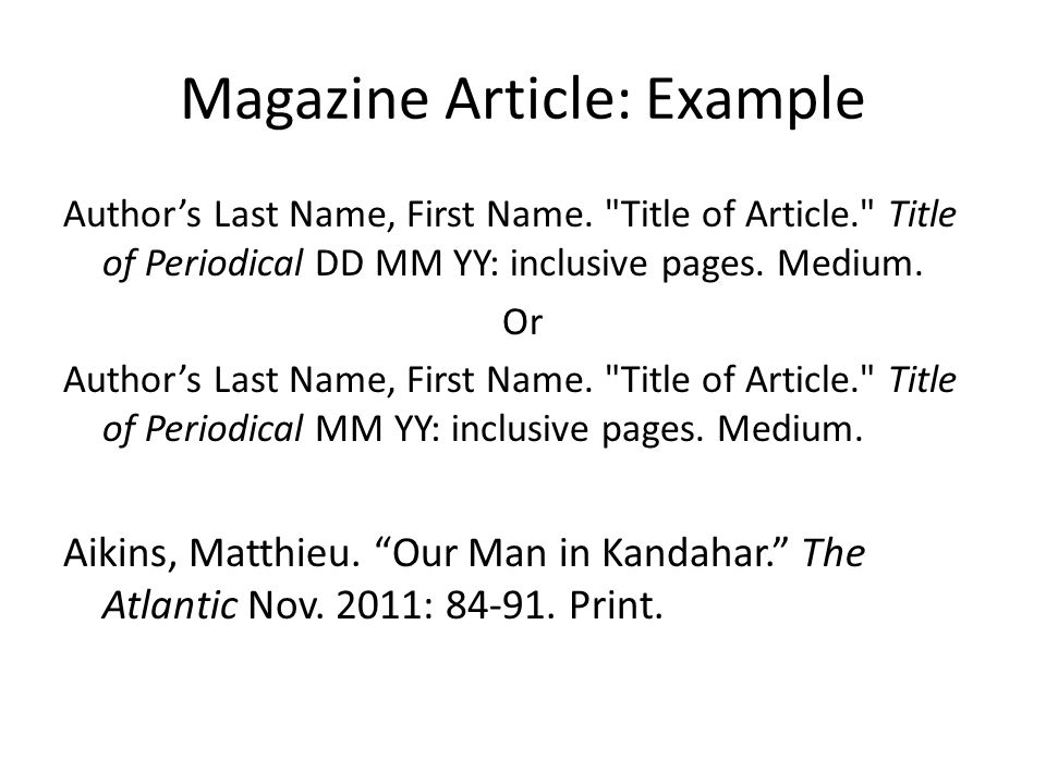 Magazine Article: Example