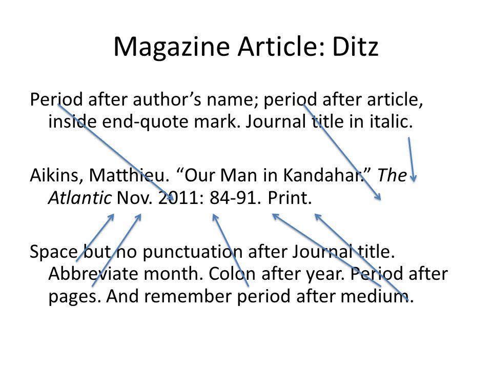 Magazine Article: Ditz