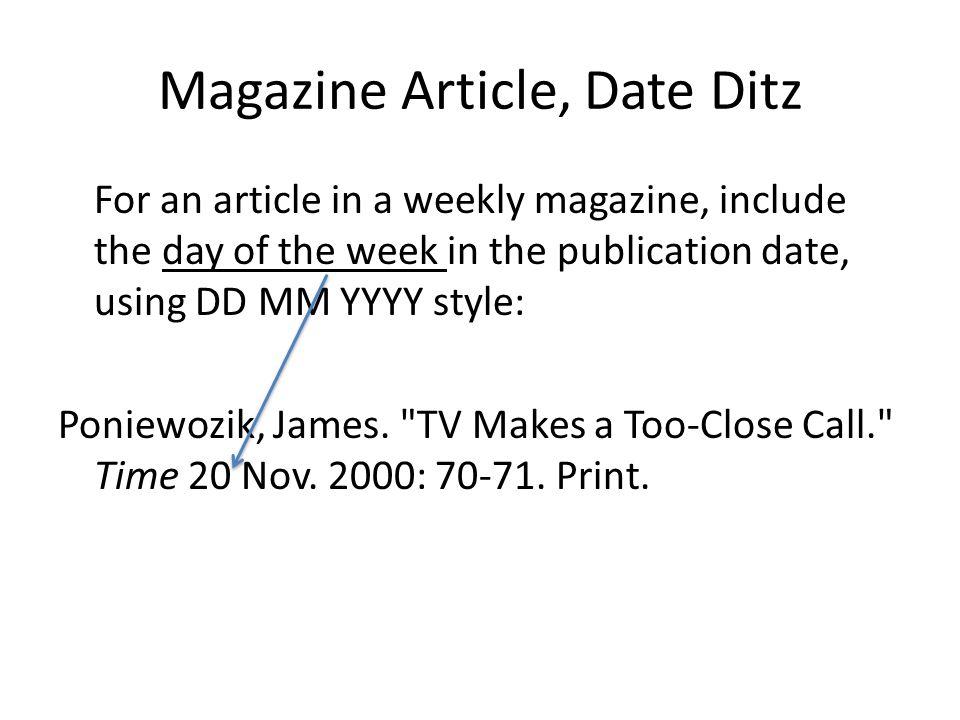Magazine Article, Date Ditz