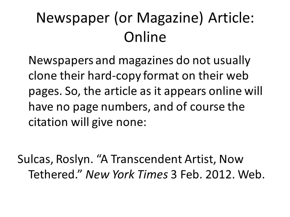 Newspaper (or Magazine) Article: Online