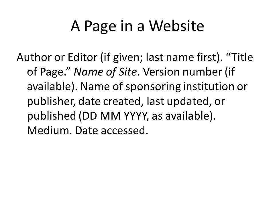 A Page in a Website