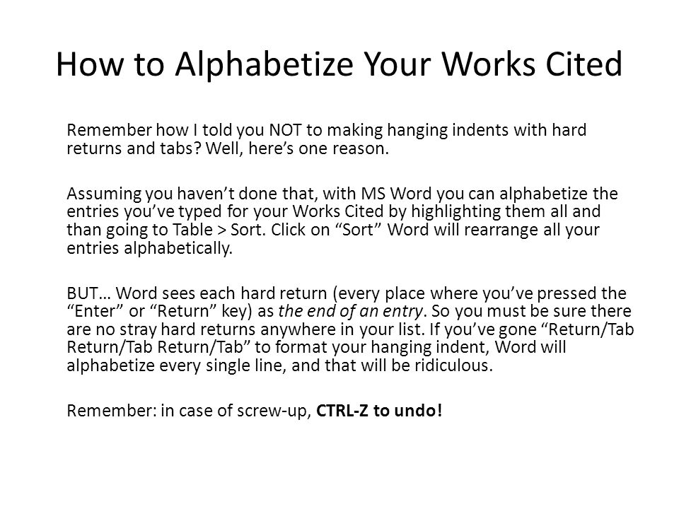 How to Alphabetize Your Works Cited