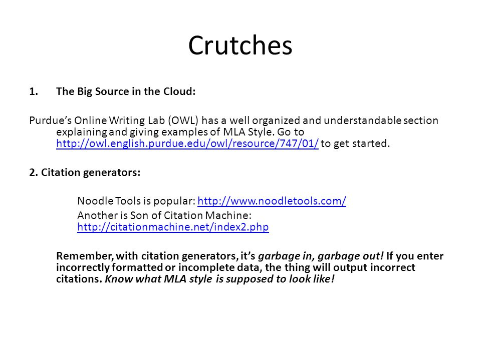 Crutches The Big Source in the Cloud: