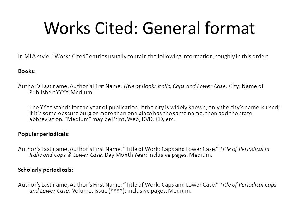 Works Cited: General format